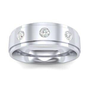 Stepped Edge Round-Cut Trio Diamond Ring (0.19 Carat)