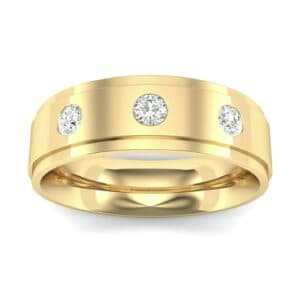 Stepped Edge Round-Cut Trio Diamond Ring (0.19 Carat)