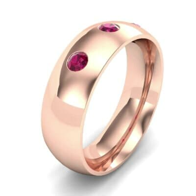 Rounded Three-Stone Ruby Ring (0.28 CTW) Perspective View
