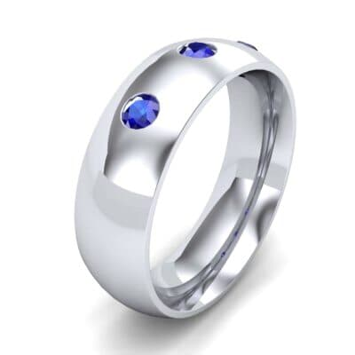 Rounded Three-Stone Blue Sapphire Ring (0.28 Carat)