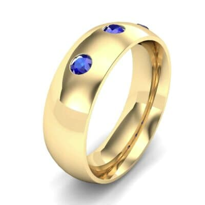 Rounded Three-Stone Blue Sapphire Ring (0.28 CTW) Perspective View