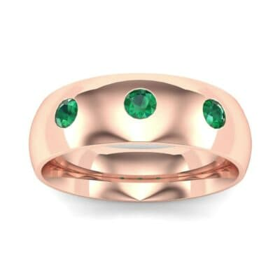 Rounded Three-Stone Emerald Ring (0.28 CTW) Top Dynamic View