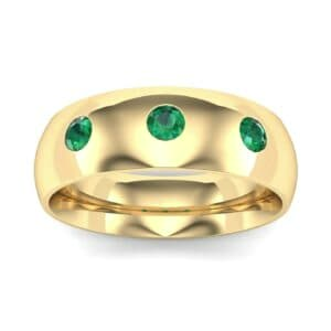 Rounded Three-Stone Emerald Ring (0.28 Carat)