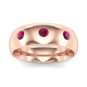 Rounded Three-Stone Ruby Ring (0.28 Carat)