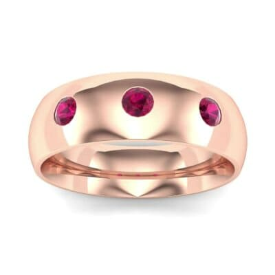 Rounded Three-Stone Ruby Ring (0.28 CTW) Top Dynamic View