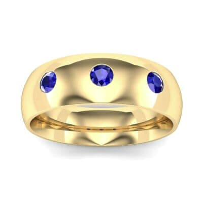 Rounded Three-Stone Blue Sapphire Ring (0.28 CTW) Top Dynamic View