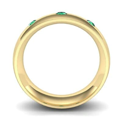Rounded Three-Stone Emerald Ring (0.28 CTW) Side View