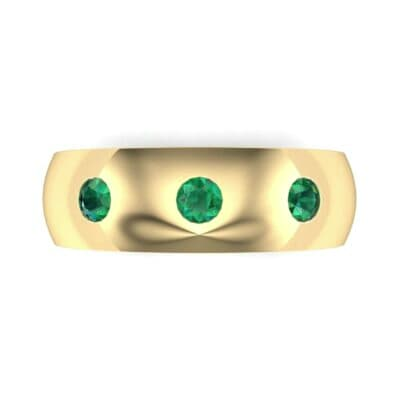 Rounded Three-Stone Emerald Ring (0.28 CTW) Top Flat View