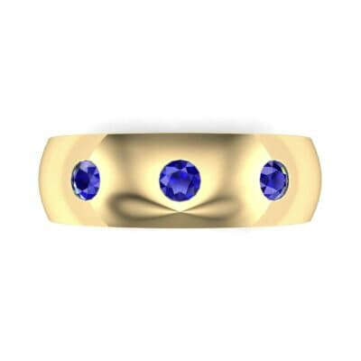 Rounded Three-Stone Blue Sapphire Ring (0.28 CTW) Top Flat View