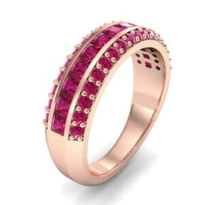 Three-Row Split Band Ruby Ring (1 Carat)