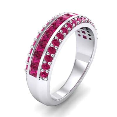 Three-Row Split Band Ruby Ring (1 Carat)