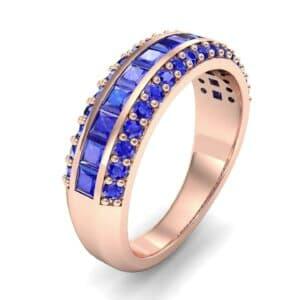Three-Row Split Band Blue Sapphire Ring (1 Carat)
