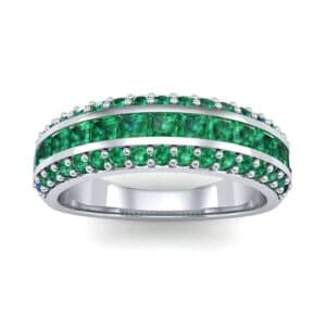 Three-Row Split Band Emerald Ring (1 Carat)