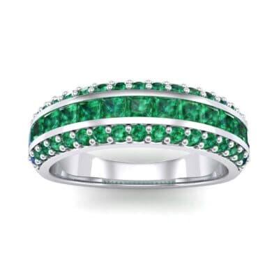 Three-Row Split Band Emerald Ring (1 Carat)