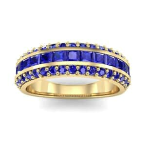 Three-Row Split Band Blue Sapphire Ring (1 Carat)