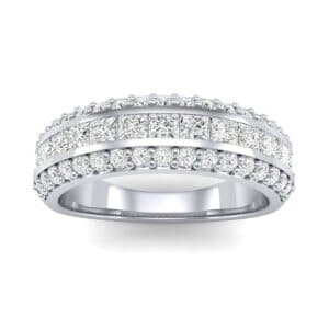 Three-Row Split Band Diamond Ring (0.79 Carat)