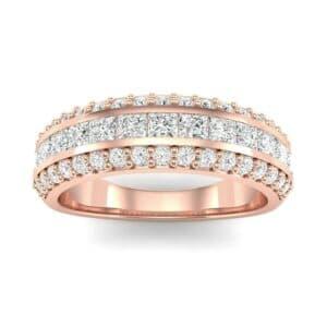 Three-Row Split Band Diamond Ring (0.79 Carat)