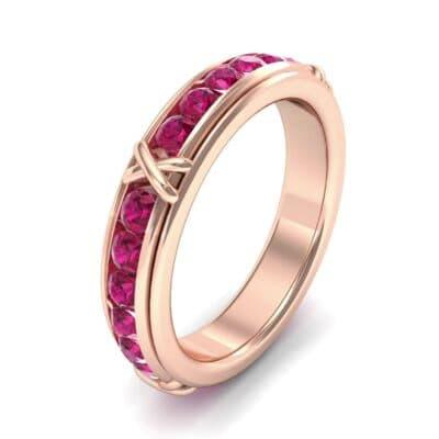 Crosses Channel-Set Ruby Eternity Ring (2.31 Carat)