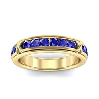 Crosses Channel-Set Blue Sapphire Eternity Ring (2.31 Carat)