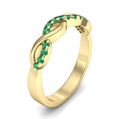 Half Pave Twist Emerald Ring (0.18 Carat)