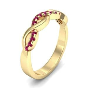 Half Pave Twist Ruby Ring (0.18 Carat)