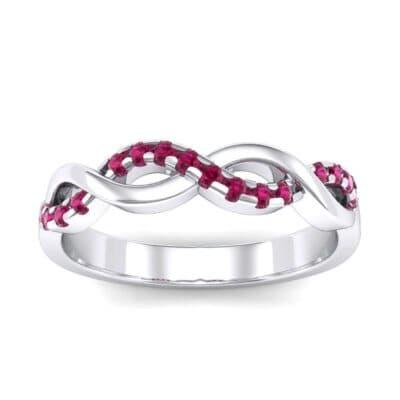 Half Pave Twist Ruby Ring (0.18 Carat)
