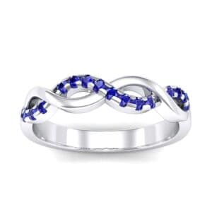 Half Pave Twist Blue Sapphire Ring (0.18 Carat)
