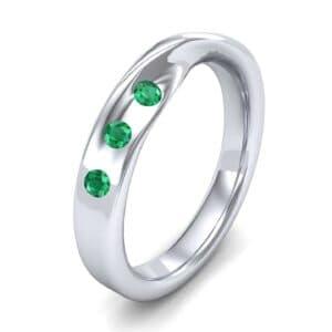 Single Twist Flush-Set Emerald Ring (0.18 Carat)