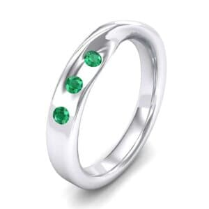Single Twist Flush-Set Emerald Ring (0.18 Carat)