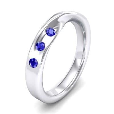 Single Twist Flush-Set Blue Sapphire Ring (0.18 Carat)