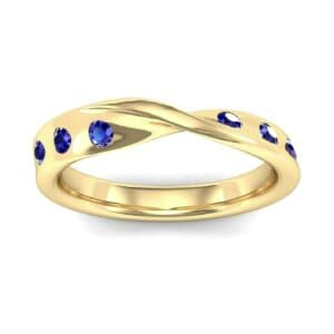 Single Twist Flush-Set Blue Sapphire Ring (0.18 Carat)