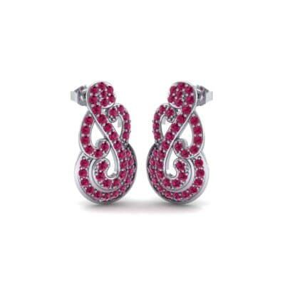 Pave Clef Ruby Earrings (1.14 Carat)