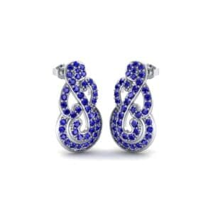 Pave Clef Blue Sapphire Earrings (1.14 Carat)