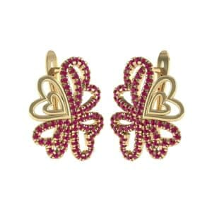 Clover Hearts Ruby Earrings (1.41 Carat)