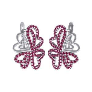 Clover Hearts Ruby Earrings (1.41 Carat)