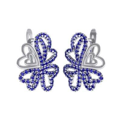 Clover Hearts Blue Sapphire Earrings (1.41 Carat)