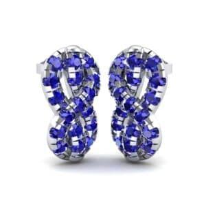 Infinity Knot Blue Sapphire Earrings (3.27 Carat)