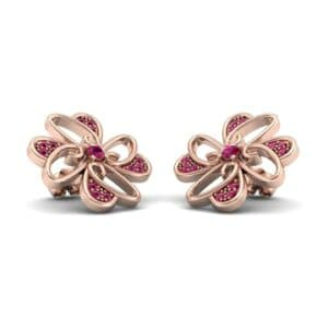 Dancing Flower Ruby Earrings (0.53 Carat)