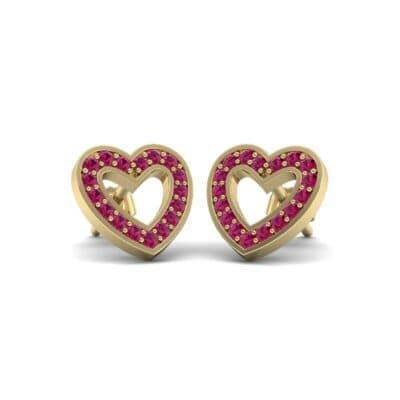 Pave Heart Ruby Earrings (0.38 Carat)