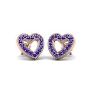 Pave Heart Blue Sapphire Earrings (0.38 Carat)