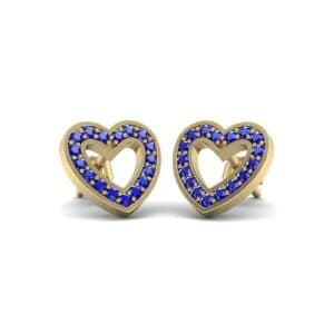 Pave Heart Blue Sapphire Earrings (0.38 Carat)