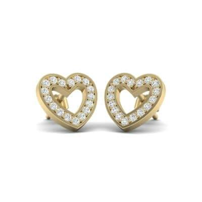 Pave Heart Diamond Earrings (0.29 Carat)