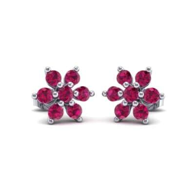 Flower Ruby Cluster Earrings (0.65 Carat)