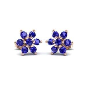 Flower Blue Sapphire Cluster Earrings (0.65 Carat)