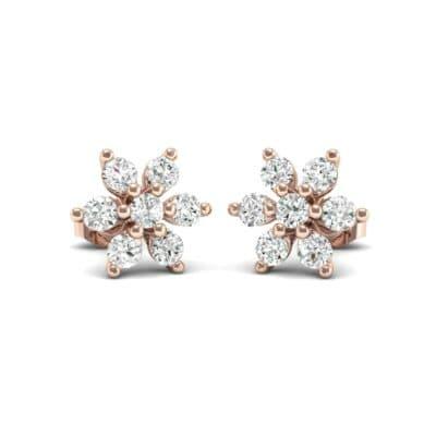 Flower Diamond Cluster Earrings (0.42 Carat)