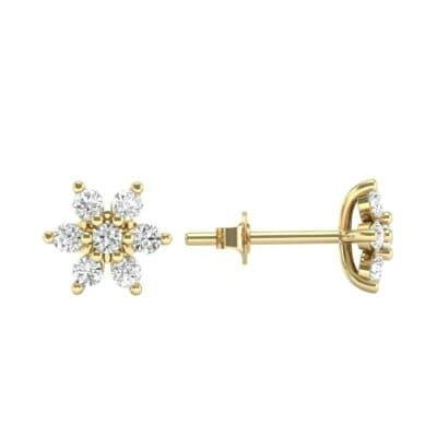Flower Diamond Cluster Earrings (0.42 CTW) Top Dynamic View