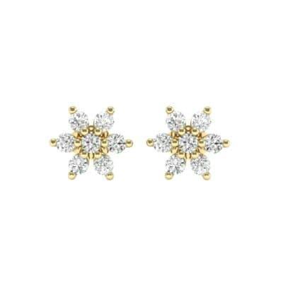 Flower Diamond Cluster Earrings (0.42 CTW) Side View