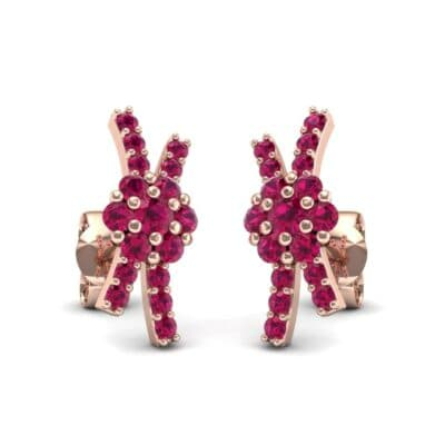 Ribbon Ruby Earrings (0.45 CTW) Perspective View