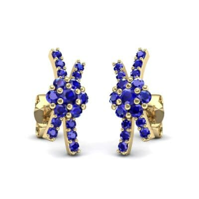 Ribbon Blue Sapphire Earrings (0.45 CTW) Perspective View