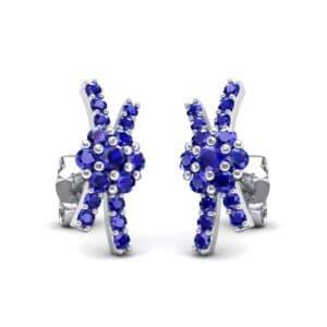 Ribbon Blue Sapphire Earrings (0.55 Carat)